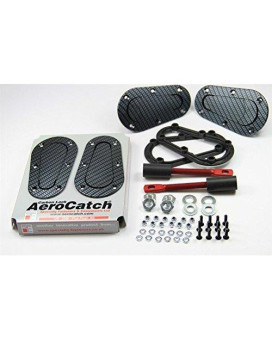 AeroCatch Plus Flush Hood Latch and Pin Kit - Black Carbon Fiber Look - Now includes Molded Fixing Plates - Part # 120-3000