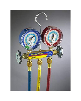 """Yellow Jacket manifold with 3-1/8"""" gauges less hoses R22//R134a/R404A"""