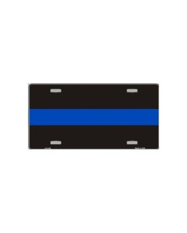 Thin Blue Line Metal License Plate Police Officers