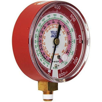 "Yellow Jacket 49137 3-1/8"" Red Pressure, 0-800 psi, R-22/404A/410A Gauge degrees F"