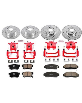 Power Stop KC2298 1-Click Performance Brake Kit with Calipers, Front & Rear