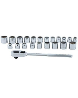 """ATD Tools (1222) 3/8"""" Drive 22-Piece Low Profile 12-Point SAE and Metric Socket Set"""