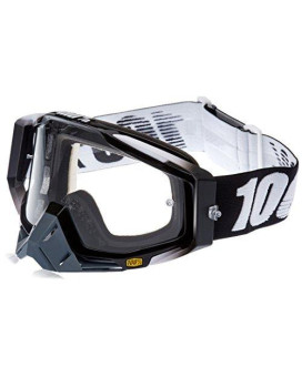 100% 50100-001-02 unisex-adult Goggle (Black/Clear,One Size) (RACECRAFT RC ABYSS Black Clear Lens)