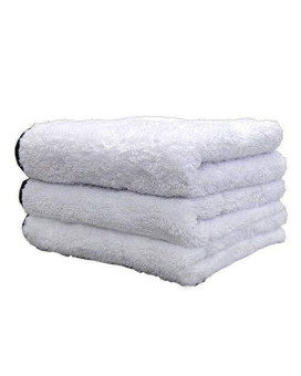 (3-Pack) THE RAG COMPANY 16 in. x 16 in. EVEREST 1100 White Ultra-Plush Korean 70/30 Professional Microfiber Detailing Towels
