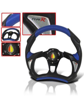 320mm JDM Battle Racing Steering Wheel Black/blue with Free Horn Button