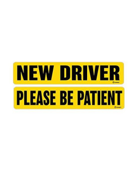 Zone Tech New Driver And Please Be Patient Magnet Reflective Magnetic Vehicle Car Sign