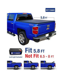 Tyger Auto TG-BC3C1006 TRI-FOLD Truck Bed Tonneau Cover 2014-2018 Chevy Silverado / GMC Sierra 1500 | Fleetside 5.8' Bed | For models without Utility Track System
