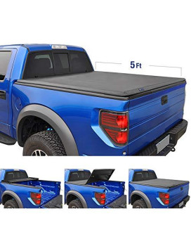 Tyger Auto TG-BC3N1028 TRI-FOLD Truck Bed Tonneau Cover 2005-2017 Nissan Frontier; 2009-2014 Suzuki Equator   Fleetside 5' Bed   For models with or without the Utili-track System