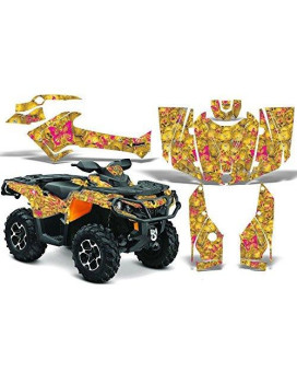2012-2014 Can-Am Outlander SST G2 500/650/800/1000 AMRRACING ATV Graphics Decal Kit:Skulls N Butterfies-Pink-Yellow