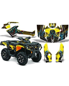 2012-2014 Can-Am Outlander SST G2 500/650/800/1000 AMRRACING ATV Graphics Decal Kit:Zombie-Yellow