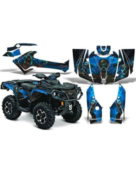 2012-2014 Can-Am Outlander SST G2 500/650/800/1000 AMRRACING ATV Graphics Decal Kit:Zombie-Blue