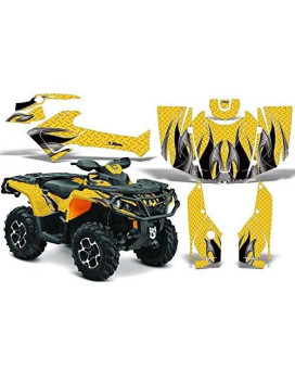 2012-2014 Can-Am Outlander SST G2 500/650/800/1000 AMRRACING ATV Graphics Decal Kit:TribalFlame-Black-Yellow