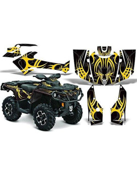 2012-2014 Can-Am Outlander SST G2 500/650/800/1000 AMRRACING ATV Graphics Decal Kit:Tribe-Yellow-Black