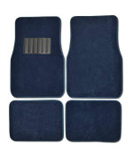 BDK Classic Carpet Floor Mats for Car & Auto - Universal Fit -Front & Rear with Heelpad (Blue)
