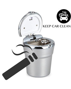 VIMVIP Portable Stainless Auto Car Cigarette Ashtray Ash with Blue LED Light Smokeless Stand Cylinder Cup Holder