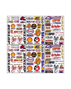6x Racing Boat Car Rc Decal Kit Sticker Sheets #RCB601-1