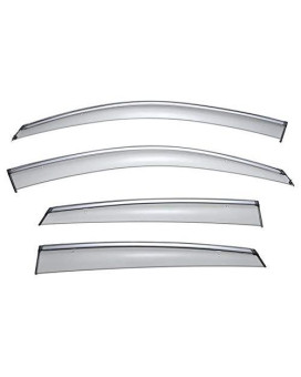 WellVisors Sleek HD Side Window Visor Smoke Chrome Trim Clip On