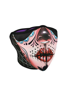 Zanheadgear Neoprene Half Face Mask, Sugar Skull Reversible to Purple
