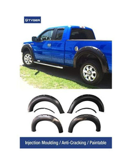 Tyger Auto TG-FF8F4028 For 2009-2014 Ford F150 (ONLY Fit Styleside Models) | Paintable Smooth Matte Black Pocket Bolt-Riveted Style Fender Flare Set, 4 Piece