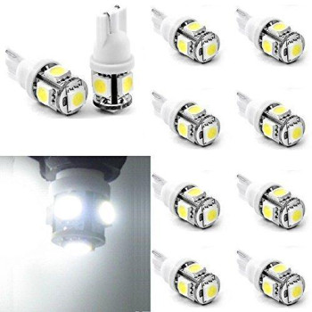 Topsen W5w 194 168 2825 T10 Wedge 5-smd 5050 White High Power Car Led Lights Bulb,width light,license plate lights, car dome light, door lights,rear lights,side lightfriendly,better Quality,longer Life(pack of 10)