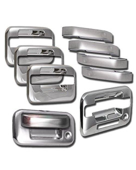 Zmautoparts Ford F150 4Dr Pickup Door Handle + Tailgate Cover Trim Bezel Chrome Pcs