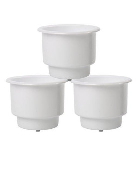 (Set of 3) Amarine-made White Recessed Plastic Cup Drink Can Holder with Drain for Boat Car Marine Rv (3 PCS, White)