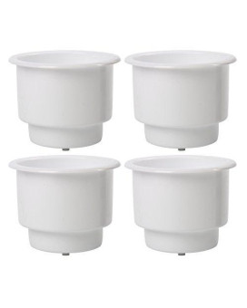 (Set of 4) Amarine-made Recessed Drop in Plastic Cup Drink Can Holder with Drain for Boat Car Marine Rv (White)