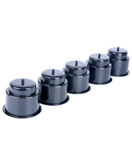 (Set of 5) Amarine-made Black Recessed Drop in Plastic Cup Drink Can Holder with Drain for Boat Car Marine Rv - Black