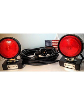 """S.T.T. Tow Lights, 7 Way Round, 4 Way RV Blade Style Configured Plug, 37 ft total length 16/4 cable, Magnetic Bases (LED Maxxima 4"""" Round STT Lights, 4x2 Black Box Magnet)"""