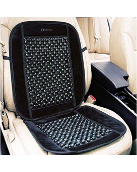 "Zento Deals Black Wooden Beaded Plush Velvet Seat Cover Premium Quality Ultra Comfort Massage Cool Car Seat Cushion 35""X17"""