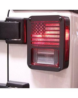 "Xprite ""American US Flag"" Tail Light Covers Guards Protectors for 2007-2017 Jeep Wrangler JK Unlimited-Pair"