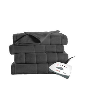 Sunbeam Full Size Fleece Heated Blanket with 5 Heat Settings, Slate