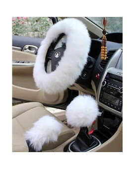 "Yontree Winter Warm Faux Wool Handbrake Cover Gear Shift Cover Steering Wheel Cover 14.96""x 14.96"" 1 Set 3 Pcs (White)"
