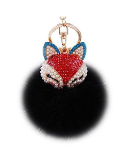 Boseen Genuine Rabbit Fur Ball Pom Pom Keychain with A fashion Alloy Fox Head Studded with Synthetic Diamonds(Rhinestone) for Womens Bag Cellphone Car Charm Pendant Decoration(Black)