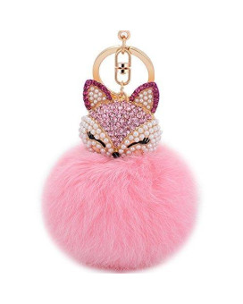 Boseen Genuine Rabbit Fur Ball Pom Pom Keychain with A fashion Alloy Fox Head Studded with Synthetic Diamonds(Rhinestone) for Womens Bag Cellphone Car Charm Pendant Decoration(Pink1)