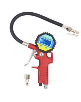 AULLY PARK Tire Inflator with Digital Tire Pressure Gauge 0-150 PSI, Flexible Rubber Hose, Straight Lock-On Air Chuck