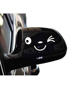 Yonger 1 Pair Cute White Smile Face 3D Decal Sticker for Auto Car Side Mirror L+R Rearview