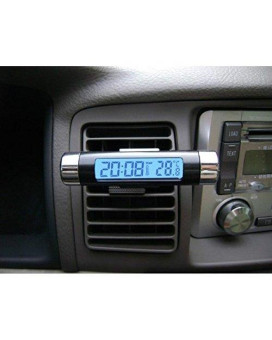 AUCH 1Pc Barrel Shaped LCD Digital Car Auto Clock Calender Car Air Vent Clip Stick On Electronic Clock& Thermometer Digital LCD Display