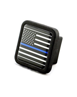 """Reflective US USA flag Trailer Hitch Cover tube Plug Insert (Fits 2"""" Receivers, Black & White flag with Thin blue line)"""