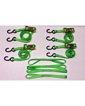 """8 Pc Heavy Duty Motorcycle, Atv Ratcheting 1""""X10' Tie-Down Strap Kit Color Green"""