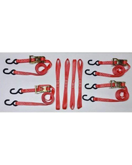 """8 Pc Heavy Duty Motorcycle, Atv Ratcheting 1""""X10' Tie-Down Strap Kit Color Red"""