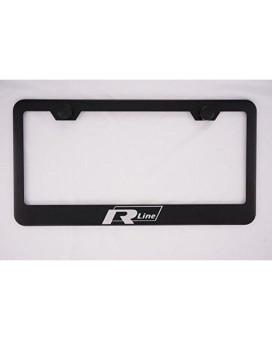 Volkswagen R Line Black License Plate Frame with Caps