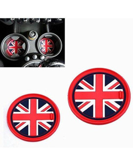 VCiiC (2) 73mm Red Union Jack UK Flag Style Soft Silicone Cup Holder Coasters For MINI Cooper R55 R56 R57 R58 R59 Front Cup Holders