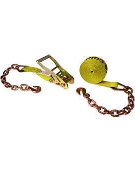 """American Industrial / 2"""" X 27' Ratchet Strap W/ Long Wide Handle &Amp; Chain Extension / 3,335 Lbs. Load Capacity"""