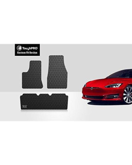 ToughPRO Tesla Model S Floor Mats Set - All Weather - Heavy Duty - Black Rubber - 2016-2017-2018