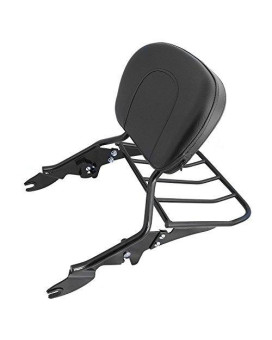 XKH- Black Detachable Backrest Sissy Bar with Luggage Rack For Harley Davidson Touring 2009-2016 Electra Glide Road Glide Road King Street Glide
