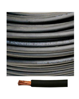 6 Gauge 6 AWG 25 Feet Black Welding Battery Pure Copper Flexible Cable Wire -- Car, Inverter, RV, Solar by WindyNation