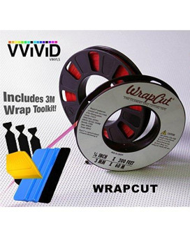 Wrap Cut Vinyl Wrap Edge Cutting Detailer Tape 200ft Including 3M Vinyl Wrap Toolkit (3 rolls w/ Toolkit (Squeegee, Detailer, 3 Felts))