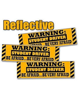 Zone Tech Warning Student Driver Vehicle Bumper Magnet - 3-Pack Premium Quality Reflective Warning Student Driver Bumper Safety Sign Magnet