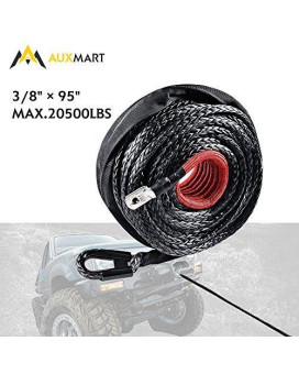 """AUXMART Synthetic Winch Rope Winch Line Cable 20500LBs Protective Sleeve 95ft x 3/8"""" for ATV UTV SUV Truck Boat Ramsey"""